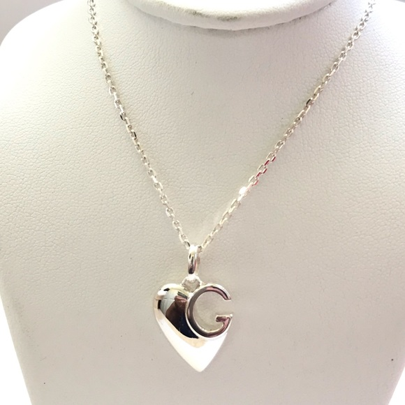 Gucci sterling silver G Charlotte heart necklace NWT
